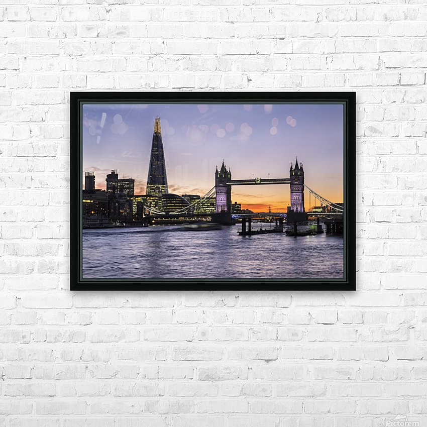 Tower Bridge and The Shard at dusk; London, England HD Sublimation Metal print with Decorating Float Frame (BOX)