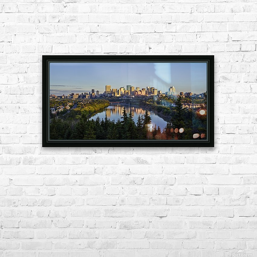 Skyline of downtown Edmonton reflected in the North Saskatchewan River under a blue sky; Edmonton, Alberta, Canada HD Sublimation Metal print with Decorating Float Frame (BOX)