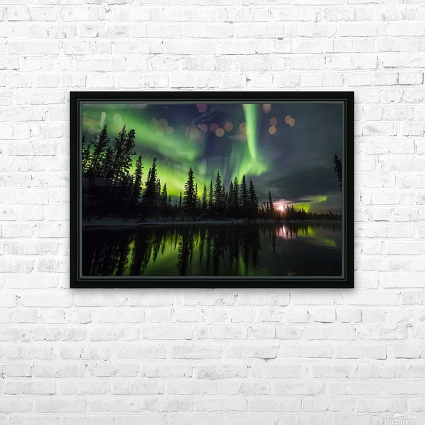 The aurora and rising moon reflect in the Clearwater River in Delta Junction; Alaska, United States of America HD Sublimation Metal print with Decorating Float Frame (BOX)