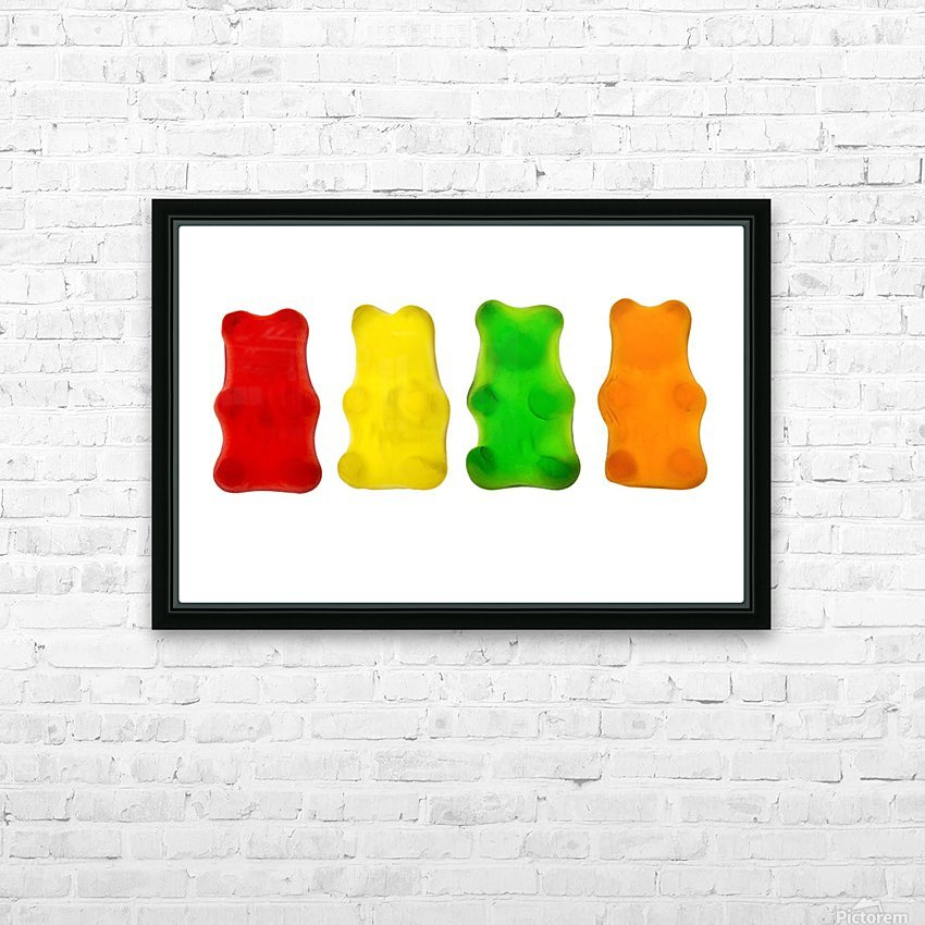 Colourful candied gummy bears in a row backlit; Calgary, Alberta, Canada HD Sublimation Metal print with Decorating Float Frame (BOX)