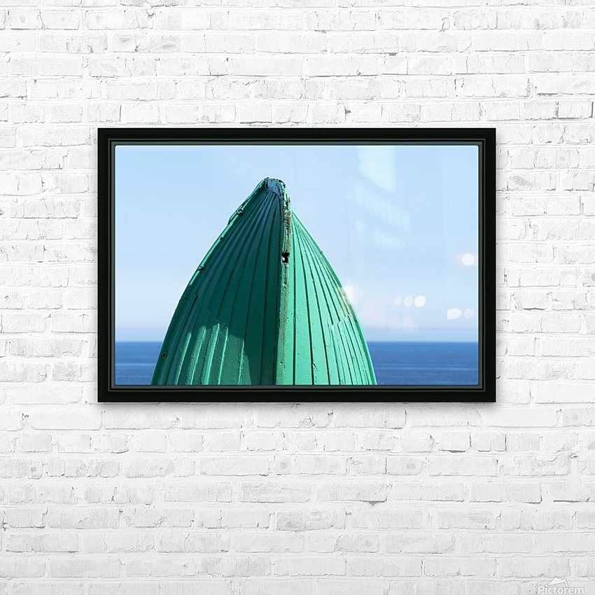 Close-up of  the bottom of the bow of a wooden boat painted green and the tranquil water and blue sky in the background; South Shields, Tyne and Wear, England HD Sublimation Metal print with Decorating Float Frame (BOX)