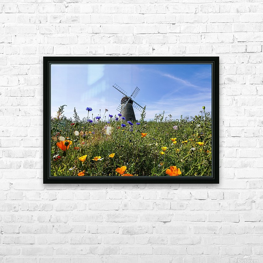 A windmill against a blue sky and cloud with a field of wildflowers in the foreground; Whitburn, Tyne and Wear, England HD Sublimation Metal print with Decorating Float Frame (BOX)