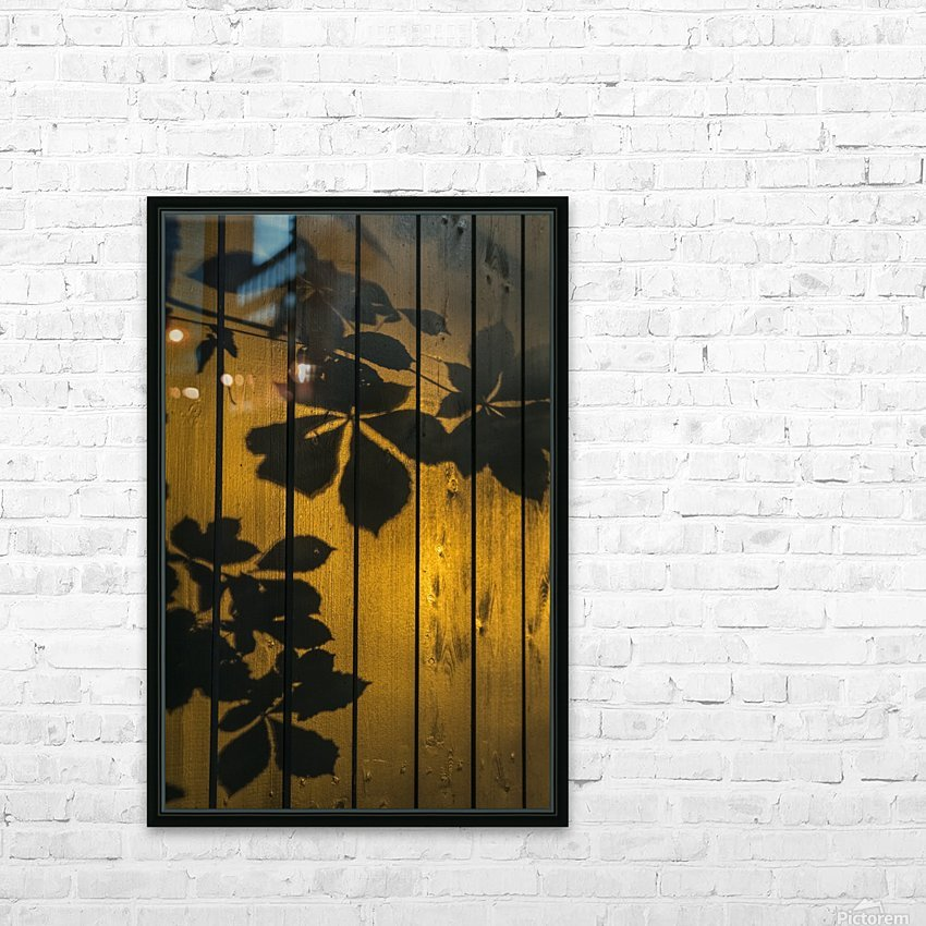 Shadows of tree branches and leaves cast on a wooden fence; Gateshead, Tyne and Wear, England HD Sublimation Metal print with Decorating Float Frame (BOX)