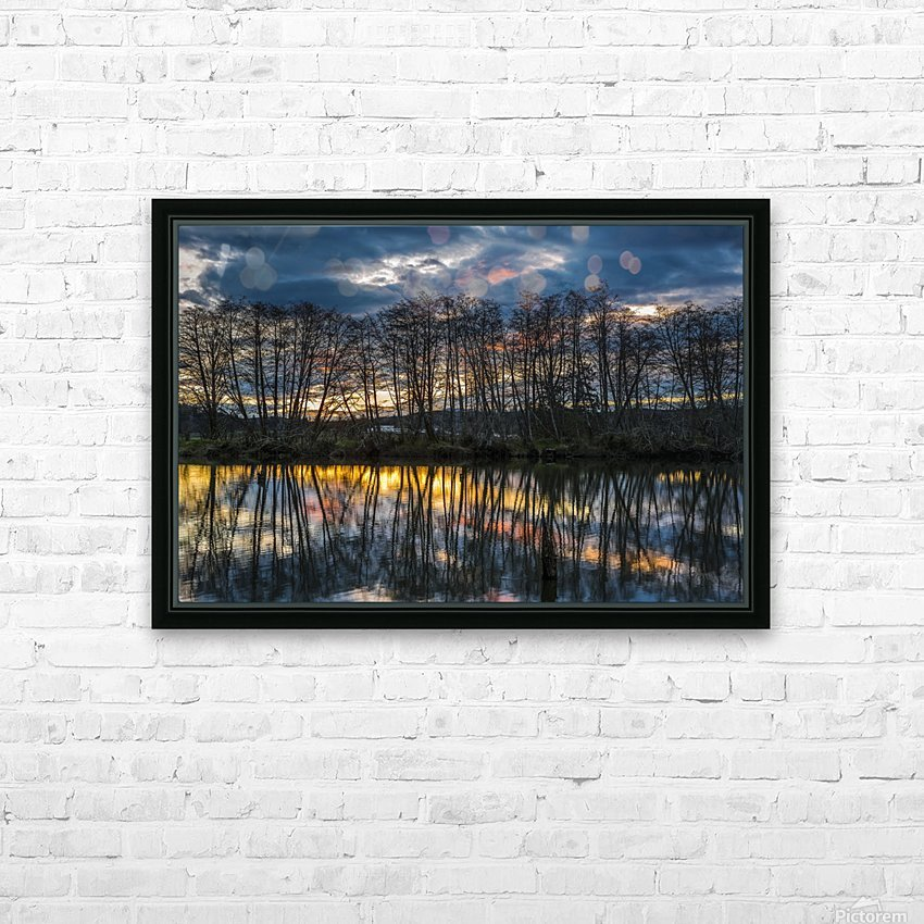 The sun rises along the Lewis and Clark River; Astoria, Oregon, United States of America HD Sublimation Metal print with Decorating Float Frame (BOX)