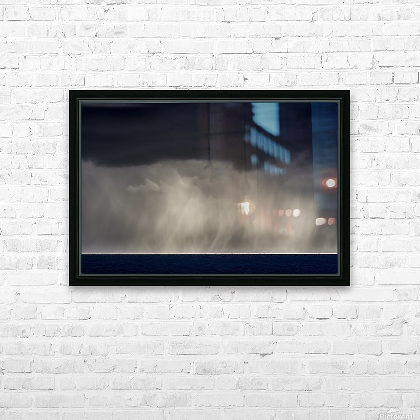 Rain falls over the ocean; Cannon Beach, Oregon, United States of America HD Sublimation Metal print with Decorating Float Frame (BOX)