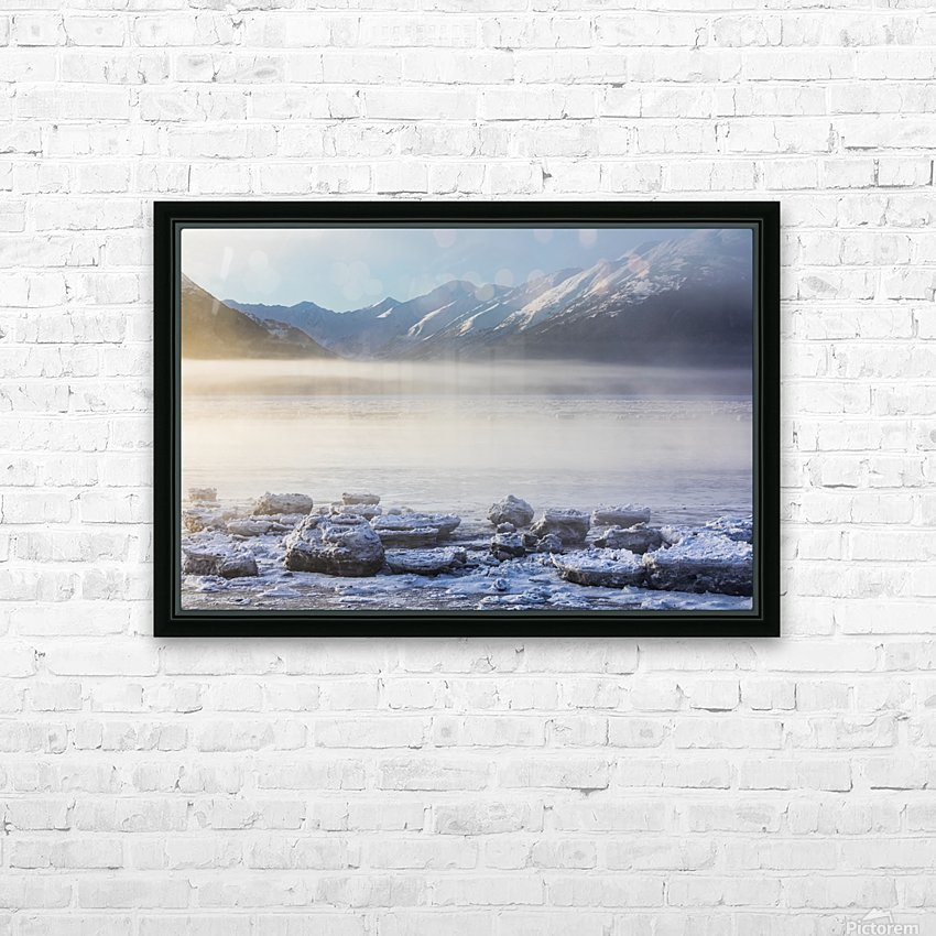 The sun shines through low altitude fog cast in warm light along Turnagain Arm and the Seward Highway, sea ice covering the ocean in the foreground, the Kenai Moutains revealed in the background, South-central Alaska; Alaska, United States of America HD Sublimation Metal print with Decorating Float Frame (BOX)
