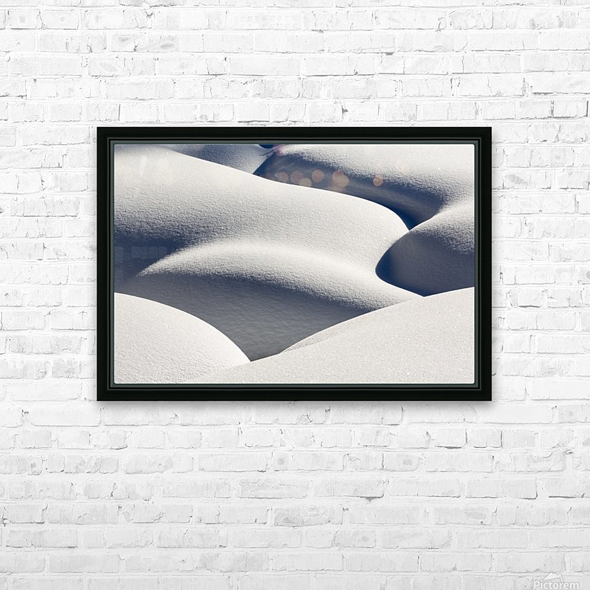 Artistic montage of snow contouring a creek bed with graphic designs of curving highlights and shadows; Lake Louise, Alberta, Canada HD Sublimation Metal print with Decorating Float Frame (BOX)