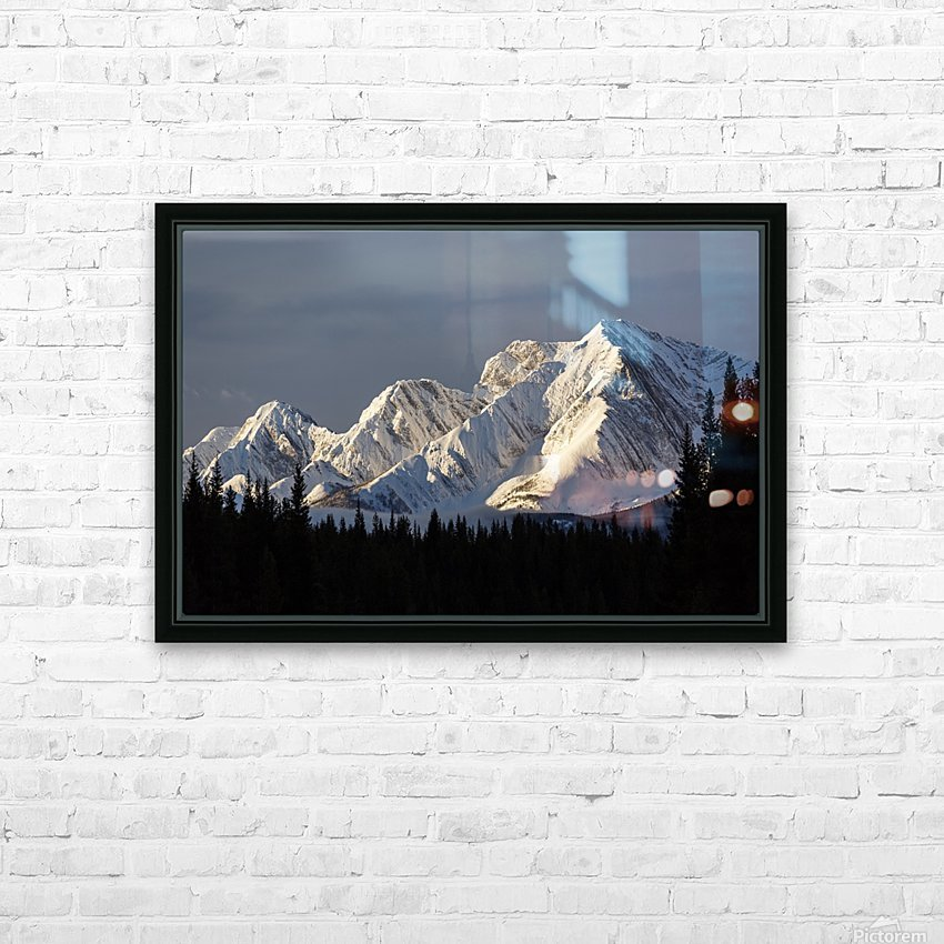 Snow covered mountains with early morning light, silhouetted forest in the foreground, blue sky and clouds; Kananaskis Country, Alberta, Canada HD Sublimation Metal print with Decorating Float Frame (BOX)