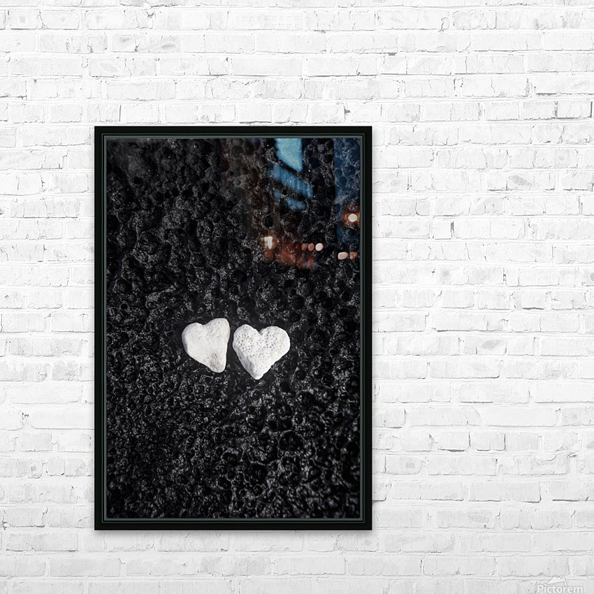 Two white coral heart shaped rocks placed together on a wet lava rock near the ocean; Honolulu, Oahu, Hawaii, United States of America HD Sublimation Metal print with Decorating Float Frame (BOX)