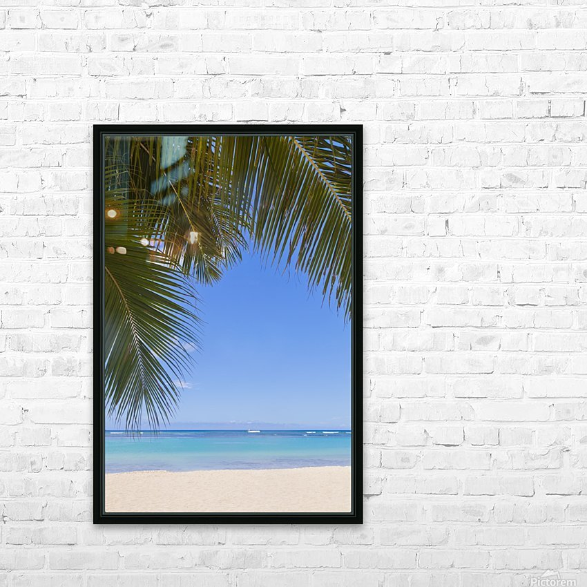 Beautiful clear day on a white sandy beach with coconut palm tree fronds hanging above; Honolulu, Oahu, Hawaii, United States of America HD Sublimation Metal print with Decorating Float Frame (BOX)
