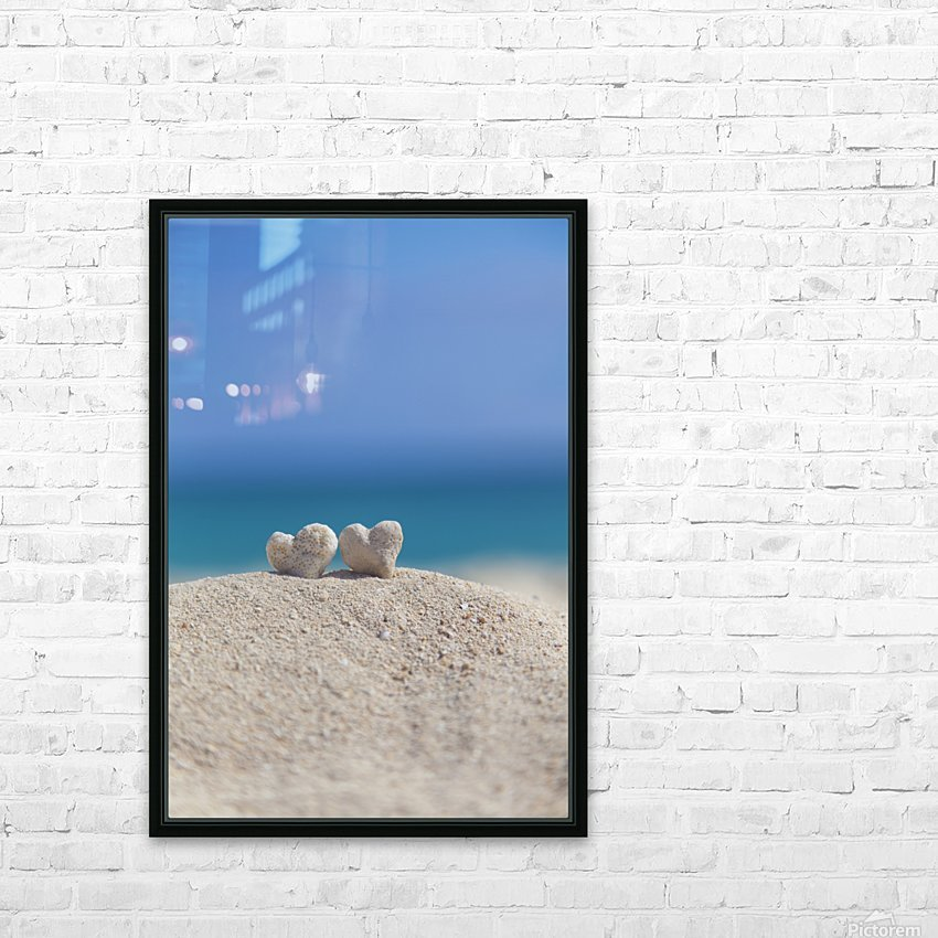 Two white heart shaped coral rocks placed together on sand at the beach; Honolulu, Oahu, Hawaii, United States of America HD Sublimation Metal print with Decorating Float Frame (BOX)