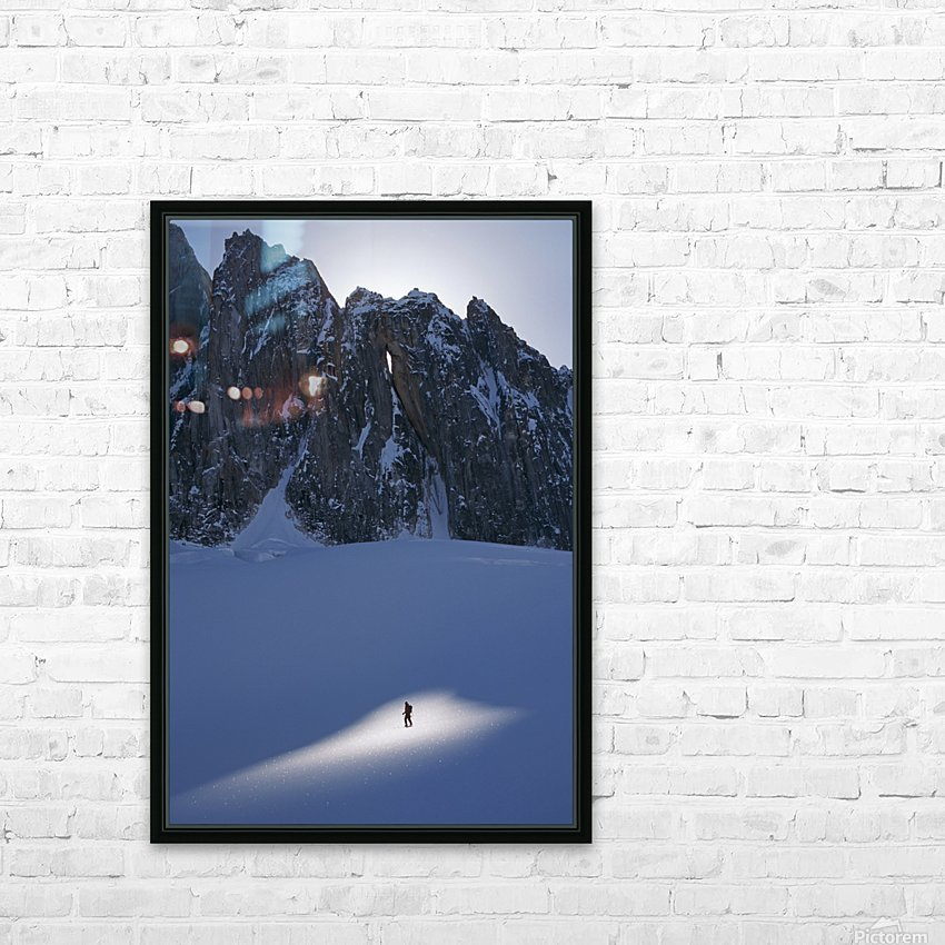 Mountaineer Pauses In Sunspot On Glacier To View Scenery, Kichatna Mtns, Denali National Park, Ak. HD Sublimation Metal print with Decorating Float Frame (BOX)