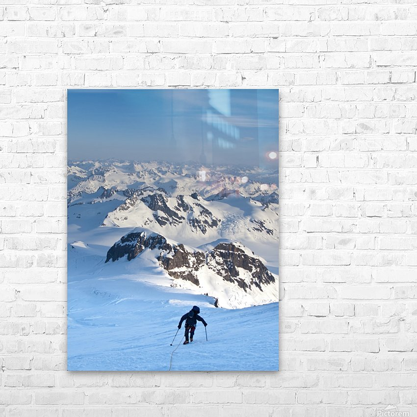 Climber Leaning Into High Winds On Northwest Ridge Of Mount Iliamna Above Tongue Glacier And Chigmit Mountains, Spring, Southcentral Alaska HD Sublimation Metal print with Decorating Float Frame (BOX)