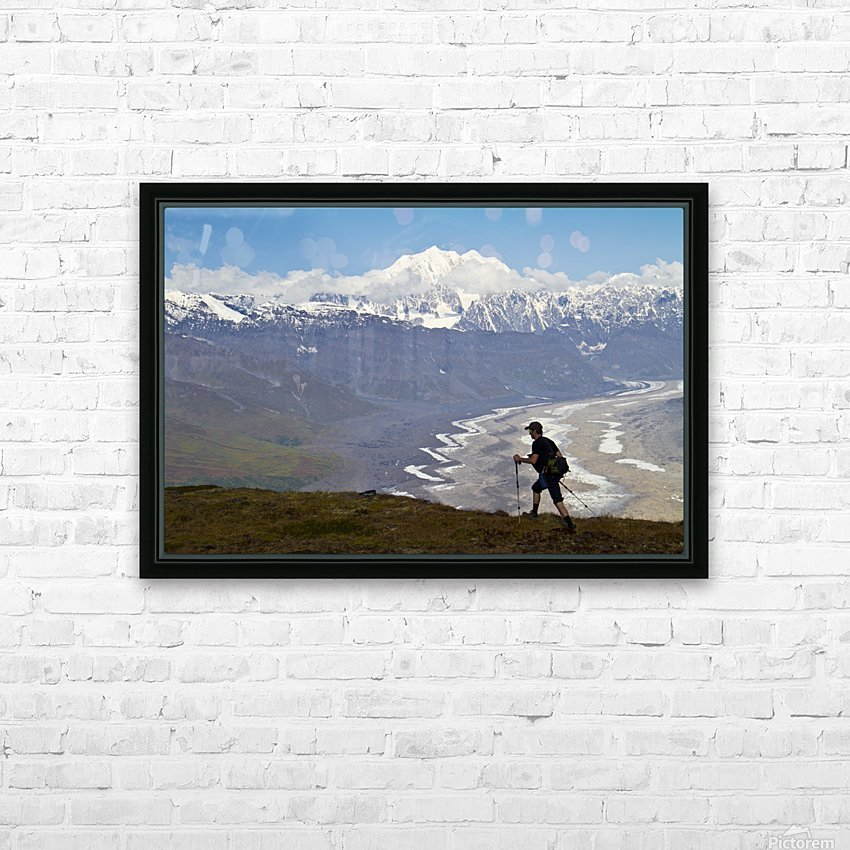 Silhouette Of A Man Hiking In The Tokosha Mountains Above The Tokositna Glacier With Mt. Hunter And The Alaska Range In The Background, Denali National Park & Preserve, Interior Alaska, Summer HD Sublimation Metal print with Decorating Float Frame (BOX)