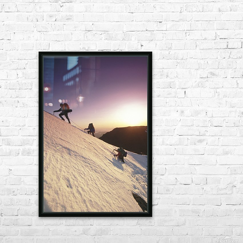 Mountain Climbers @ Sunset Chugach Mts Southcentral Ak HD Sublimation Metal print with Decorating Float Frame (BOX)