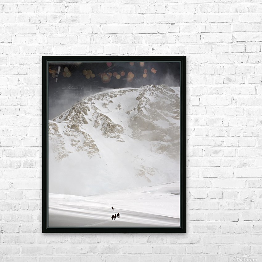 View Of Climbers Traversing The Kahiltna Glacier On The West Buttress Route With The South Face Of Denali In The Background, Denali National Park And Preserve, Interior Alaska, Summer HD Sublimation Metal print with Decorating Float Frame (BOX)