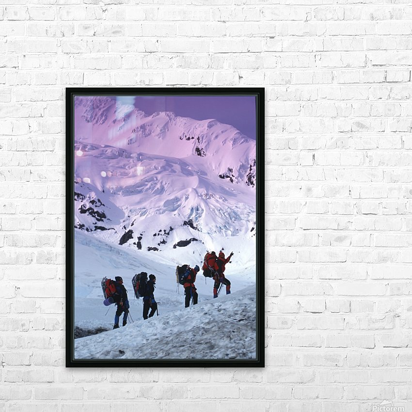 Mountain Climbers Byron Glacier Southcentral Ak Spring HD Sublimation Metal print with Decorating Float Frame (BOX)