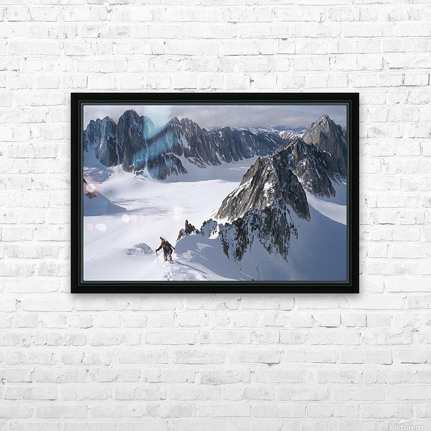 Mountaineer Climbing On Narrow Ridge In Kichatna Mtns Denali National Park Interior Alaska Winter HD Sublimation Metal print with Decorating Float Frame (BOX)