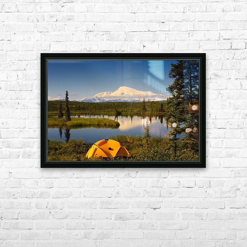 Tent Camping In Wrangell Saint Elias National Park With Mount Sanford In The Background, Southcentral Alaska, Summer HD Sublimation Metal print with Decorating Float Frame (BOX)