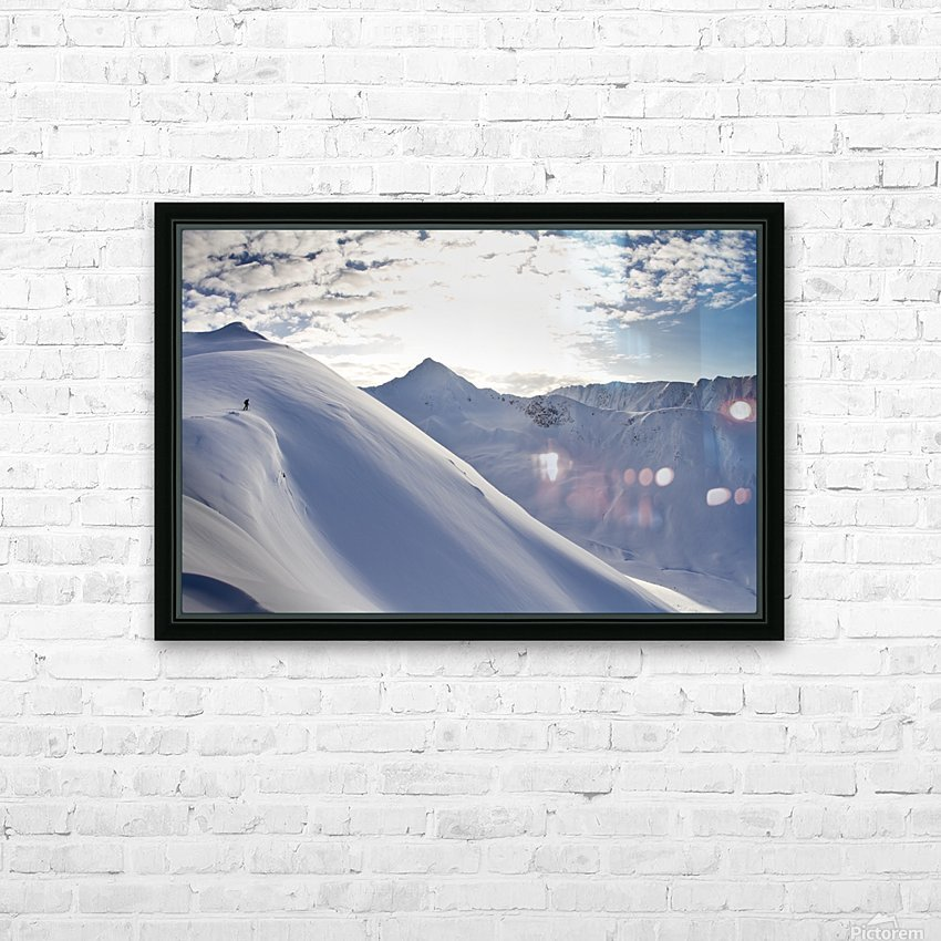 Man Backcountry Skiing In Powder Snow At Wolverine Bowl, Turnagain Pass, Kenai Mountains, Southcentral Alaska, Winter HD Sublimation Metal print with Decorating Float Frame (BOX)