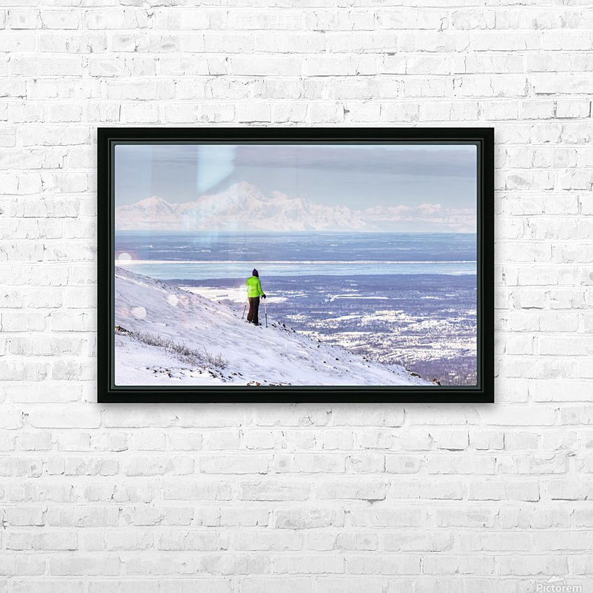 Woman snowshoer taking in the view of Mt. McKinley (Denali) from Blueberry Hill at the Glen Alps area of Chugach State Park, Anchorage, Southcentral Alaska, Winter, HDR HD Sublimation Metal print with Decorating Float Frame (BOX)