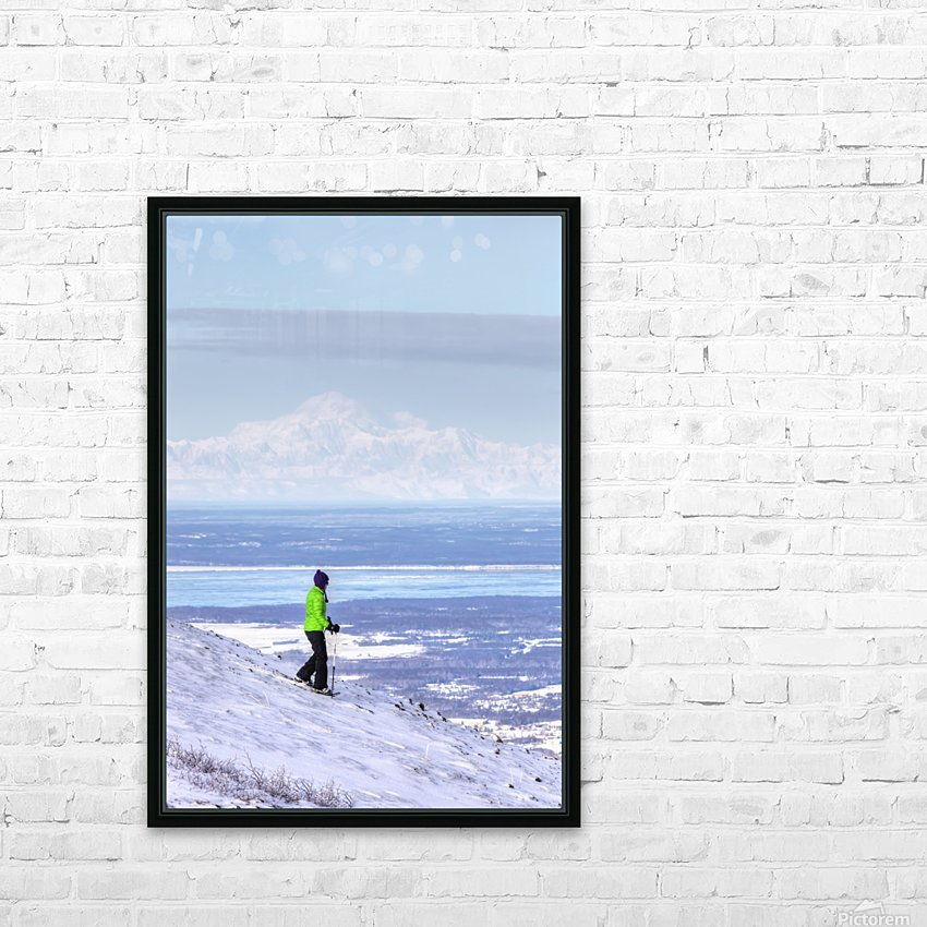 Woman snowshoeing on Blueberry Hill at the Glen Alps area of Chugach State Park with Mt. McKinley (Denali) in the background, Anchorage, Southcentral Alaska, Winter, HDR HD Sublimation Metal print with Decorating Float Frame (BOX)