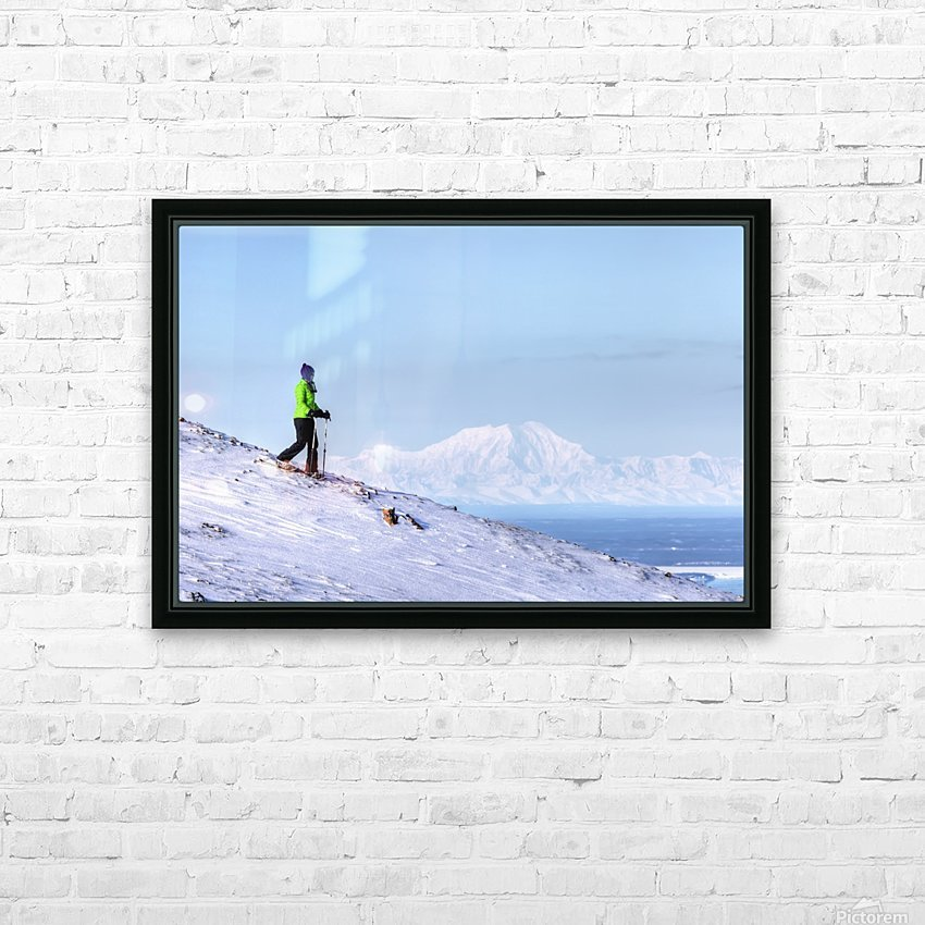 Woman snowshoeing on Blueberry Hill at the Glen Alps area of Chugach State Park with Mt. Foraker in the background, Anchorage, Southcentral Alaska, Winter, HDR HD Sublimation Metal print with Decorating Float Frame (BOX)