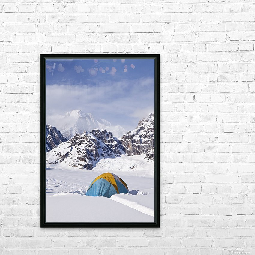 Mountain tent on ridge in winter, Mt. McKinley in background, part of Mt. Dan Beard immediately behind tent, Denali National Park and Preserve; Alaska, United States of America HD Sublimation Metal print with Decorating Float Frame (BOX)