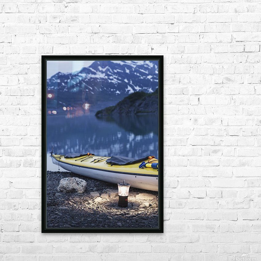 Kayak and lantern on the beach with mountains in the back ground at dusk, Shoup Bay State Marine Park, Prince William Sound, Valdez, Southcentral Alaska HD Sublimation Metal print with Decorating Float Frame (BOX)