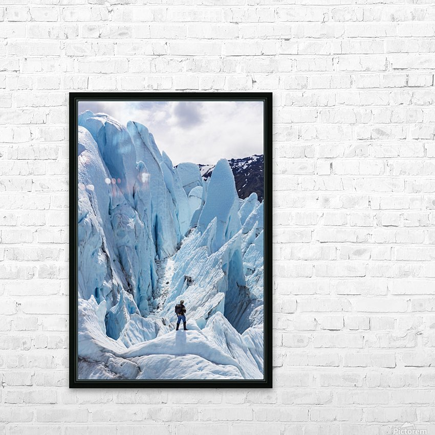 Hiker standing on at the base of Matanuska Glacier, Southcentral Alaska, Summer HD Sublimation Metal print with Decorating Float Frame (BOX)