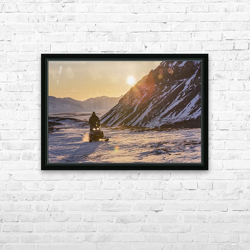 Man riding a snowmachine up the Anaktuvuk River Valley at sunset, Gates of the Arctic National Park, Brooks Range, Arctic Alaska HD Sublimation Metal print with Decorating Float Frame (BOX)