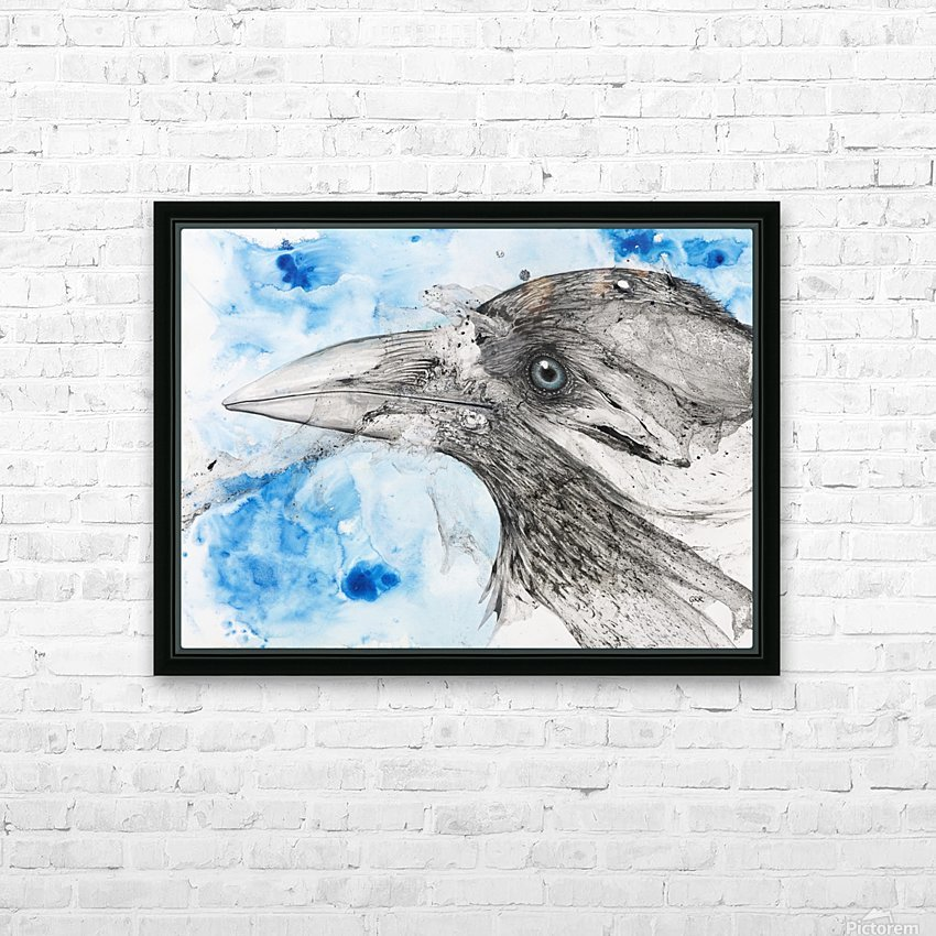 Illustration of a bird's eye and beak with mottled blue and white background HD Sublimation Metal print with Decorating Float Frame (BOX)