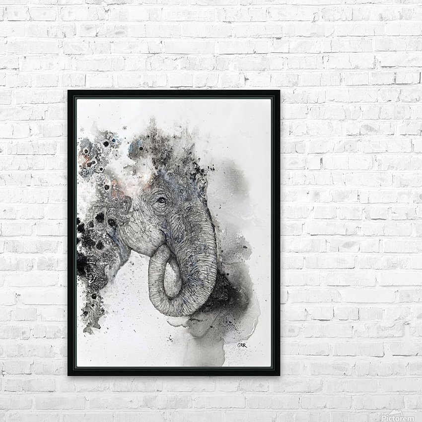 Illustration of an elephant's head HD Sublimation Metal print with Decorating Float Frame (BOX)