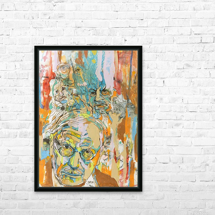 Illustration of a man with heads talking above his head HD Sublimation Metal print with Decorating Float Frame (BOX)