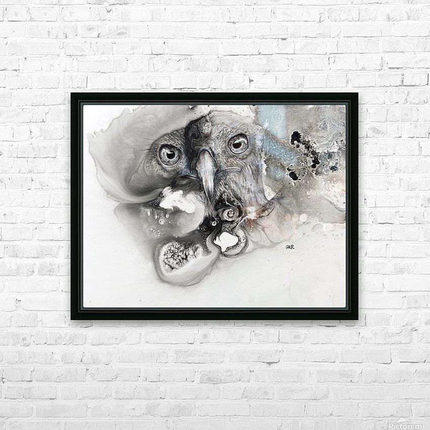 Illustration of a bird's face surrounded by mottled textures and abstract HD Sublimation Metal print with Decorating Float Frame (BOX)