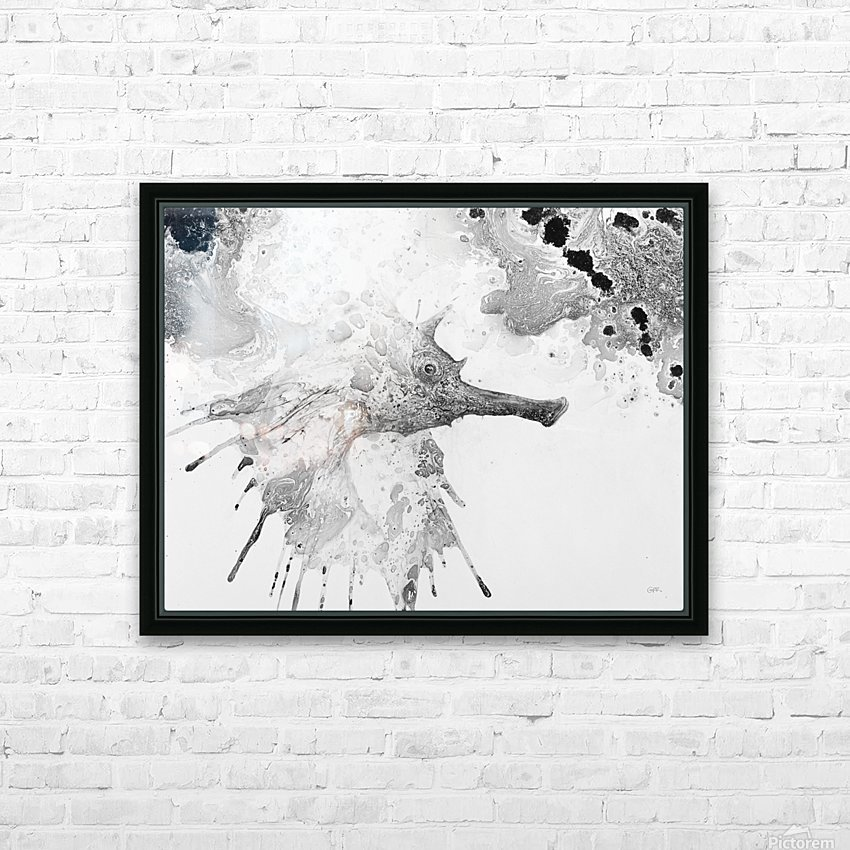 Illustration of fish with long nose surrounded by splashes and mottled abstract HD Sublimation Metal print with Decorating Float Frame (BOX)