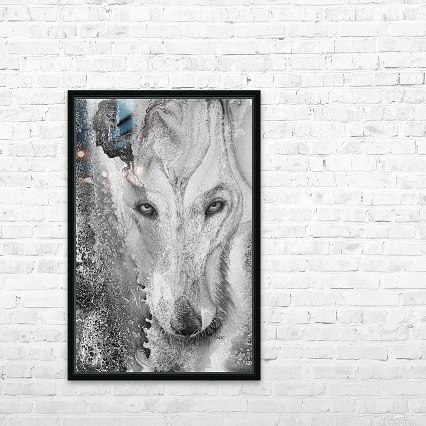 Illustration of a wolf and a mottled background HD Sublimation Metal print with Decorating Float Frame (BOX)