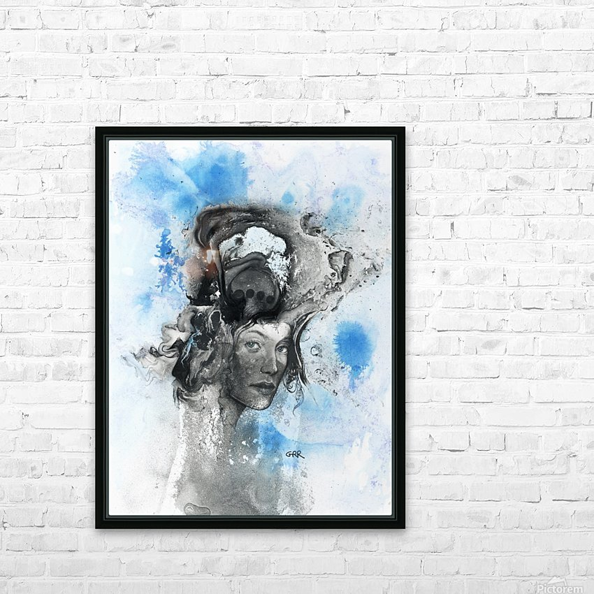 Illustration of a woman's face with splashes and shapes on the top of her head HD Sublimation Metal print with Decorating Float Frame (BOX)