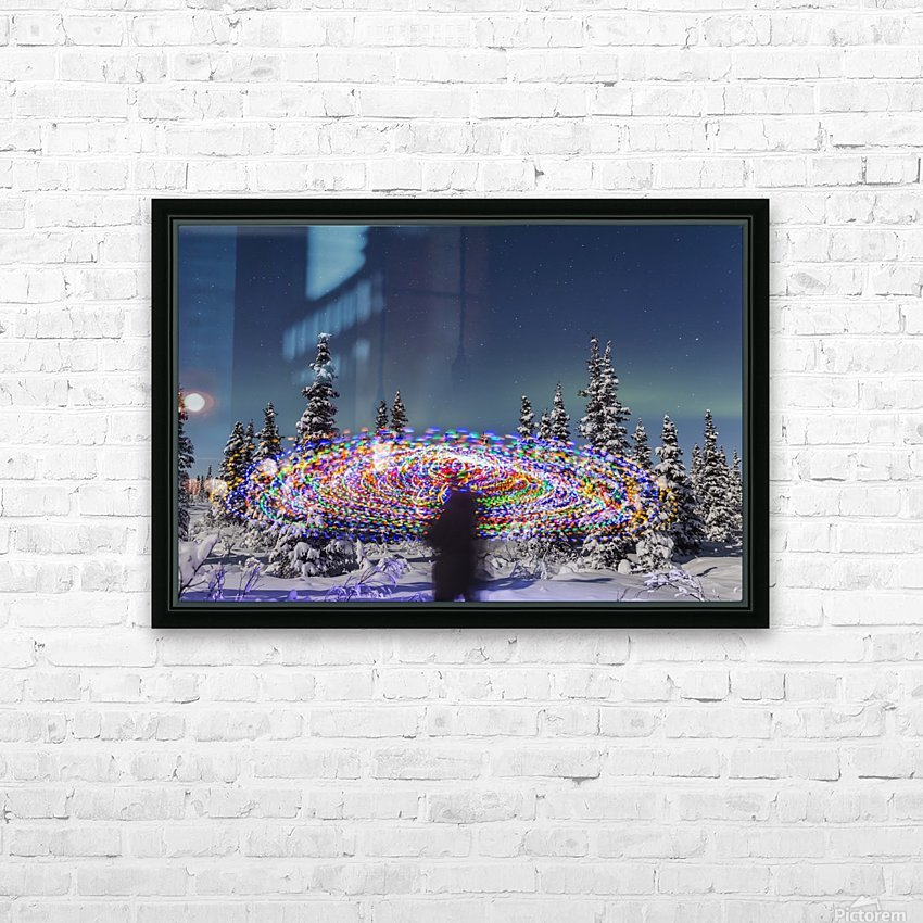 The Aurora Borealis dances over the top of a vibrant spiral light painting, the blurry figure of a man in the middle of the light painting, moonlight casting shadows on snow covered spruce trees on a clear winter night, interior Alaska; Gakona, Alaska, Un HD Sublimation Metal print with Decorating Float Frame (BOX)