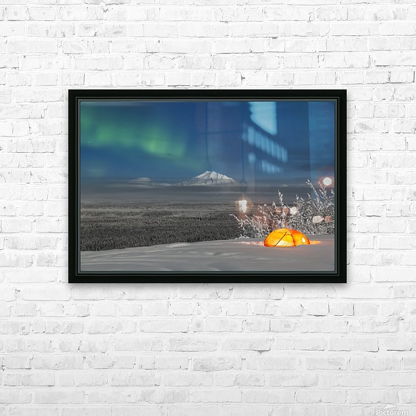 Green Aurora Borealis shines above moonlight casting light on Mount Drum and the Copper River Valley, a glowing tent on a foggy winter night, Copper River Valley, South-central Alaska; Alaska, United States of America HD Sublimation Metal print with Decorating Float Frame (BOX)