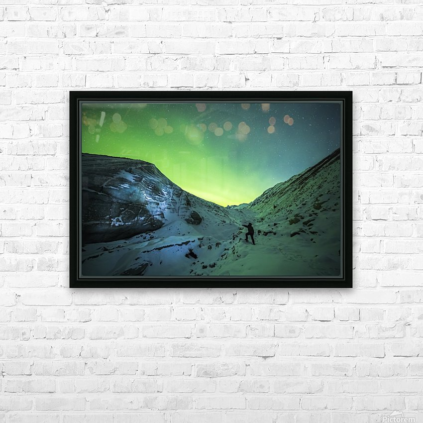 A man lights up the ice of Castner Glacier with a flashlight underneath a diffuse aurora display; Alaska, United States of America HD Sublimation Metal print with Decorating Float Frame (BOX)