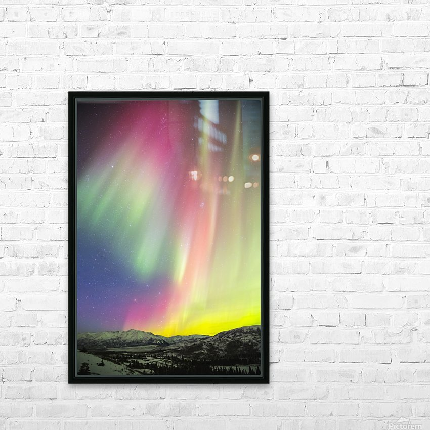 A colourful aurora display over Granite Mountain, south of Delta Junction; Alaska, United States of America HD Sublimation Metal print with Decorating Float Frame (BOX)