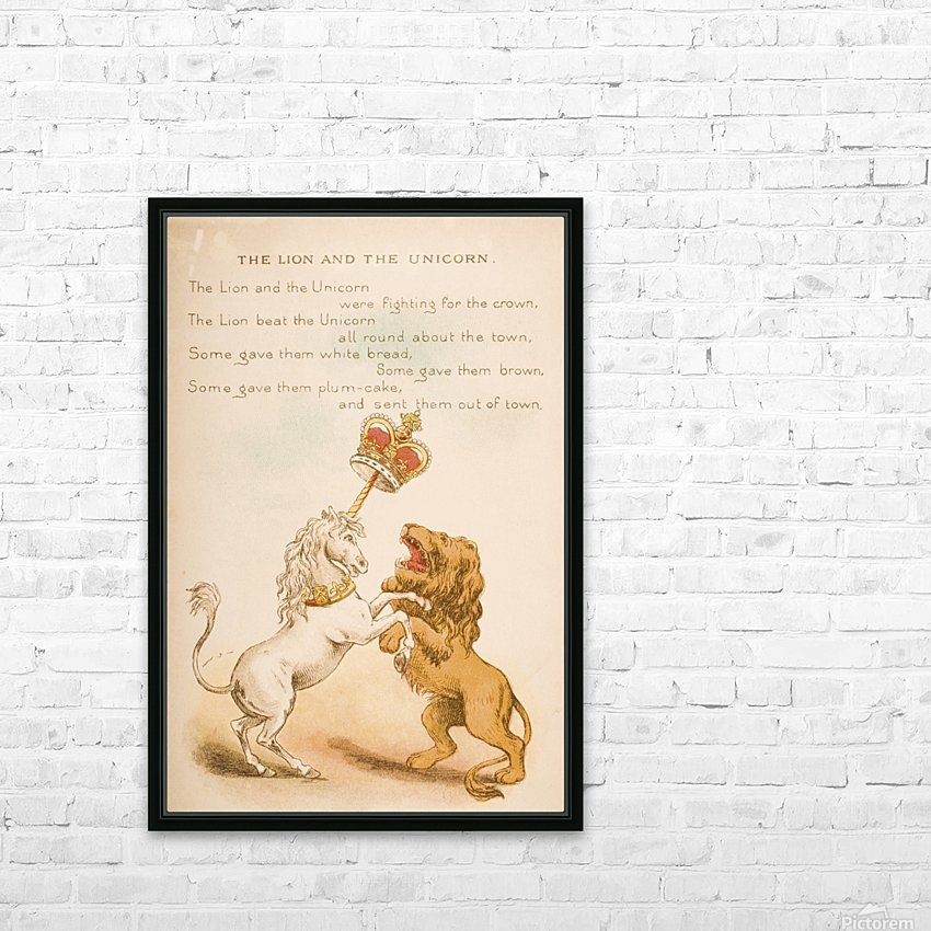 The Lion and the Unicorn from Old Mother Goose's Rhymes and Tales  Illustration by Constance Haslewood  Published by Frederick Warne & Co London and New York circa 1890s  Chromolithography by Emrik & Binger of Holland HD Sublimation Metal print with Decorating Float Frame (BOX)