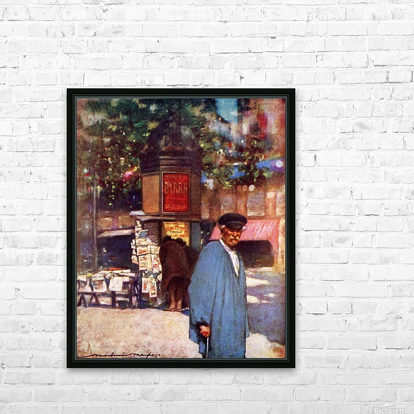The Kiosk on the Boulevard, Paris. Colour illustration from the book France by Gordon Home published 1918 HD Sublimation Metal print with Decorating Float Frame (BOX)