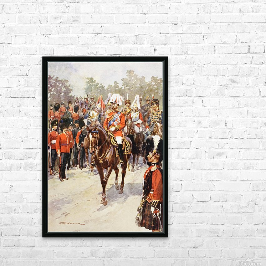 George V, as Field Marshal and British Regiments of which he was colonel.  George Frederick Ernest Albert, 1865 to 1936.  After the painting by Frederic de Haenen from The Illustrated London News, 1910. HD Sublimation Metal print with Decorating Float Frame (BOX)