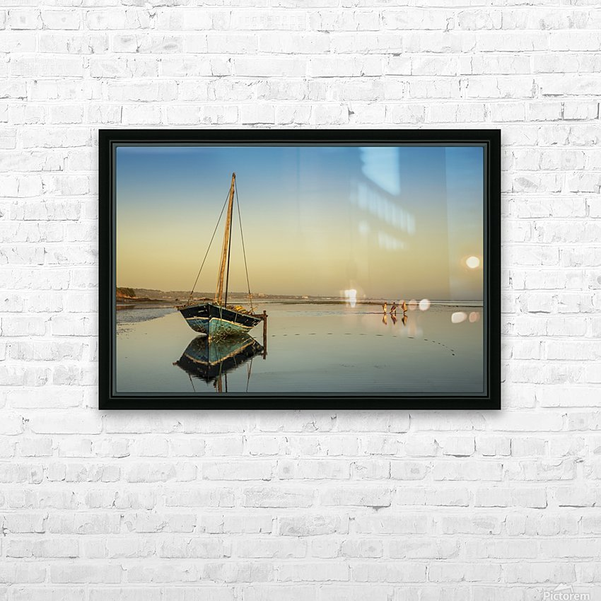 Dhow in low tide; Pemba, Cabo Delgado, Mozambique HD Sublimation Metal print with Decorating Float Frame (BOX)