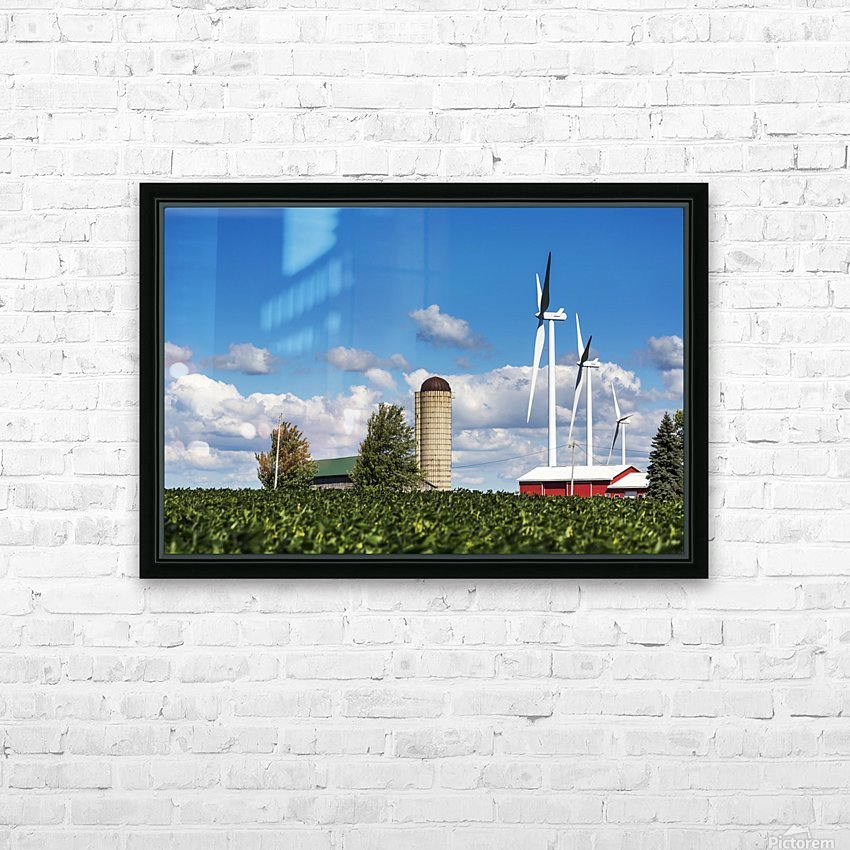 Large metal windmills in a farm yard with red barn and silo, soy bean field in the foreground and blue sky and clouds in the background; Ontario, Canada HD Sublimation Metal print with Decorating Float Frame (BOX)