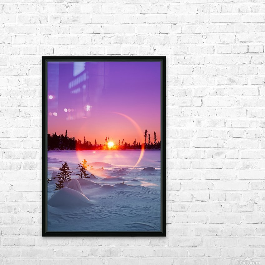 Sun flare glowing over a winter landscape; Trapper Creek, Alaska, United States of America HD Sublimation Metal print with Decorating Float Frame (BOX)