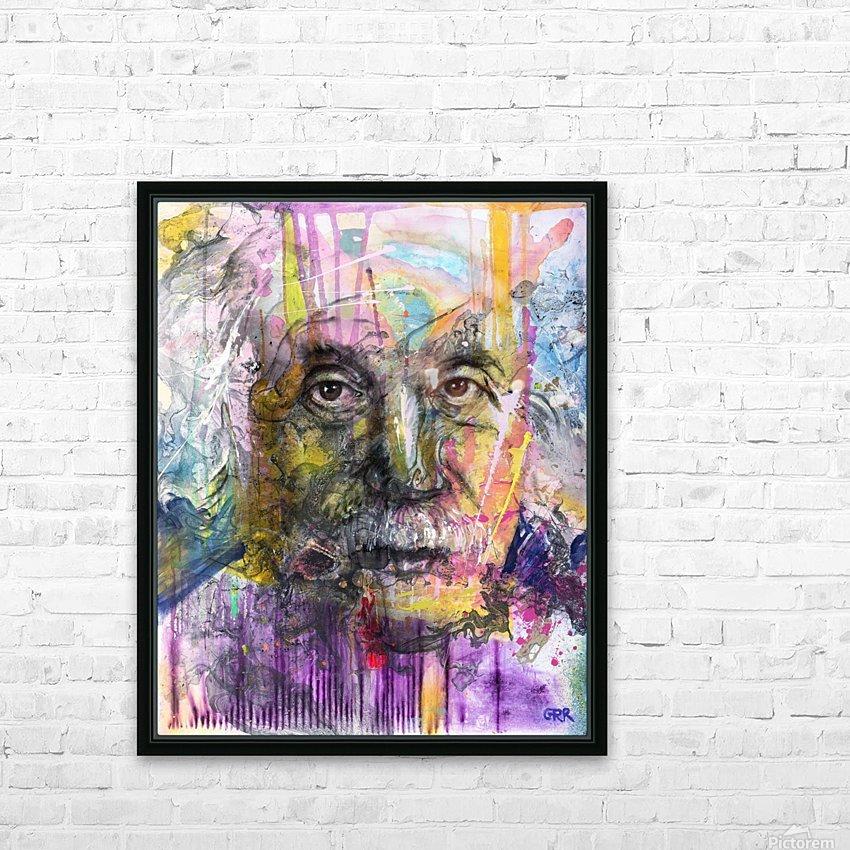 Illustration of a man's face with colourful abstract patterns surrounding it HD sublimation métal imprimé avec décoration flotteur cadre (boîte)