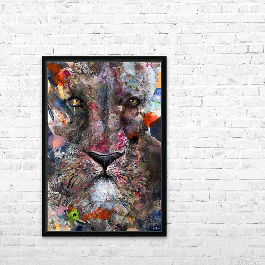 Illustration of a lion's face with colourful splashes HD Sublimation Metal print with Decorating Float Frame (BOX)